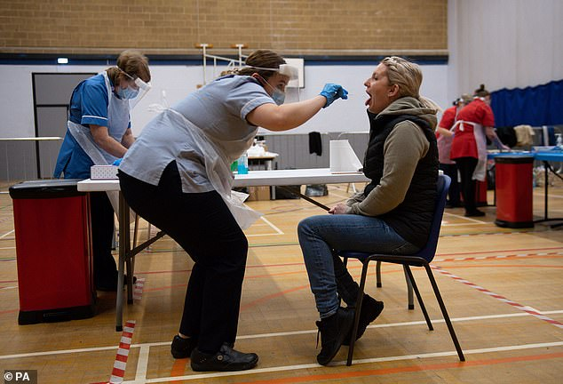 Emergency workers and contacts of Covid-19 cases who have been isolating for more than seven days will be offered the lateral flow tests. It is the next stage of the mass testing scheme pilot (Pictured: A woman gets swabbed in Liverpool)