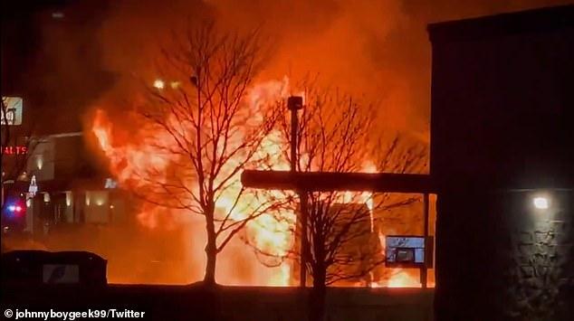 A video showed a huge fire outside the restaurant in Nebraska