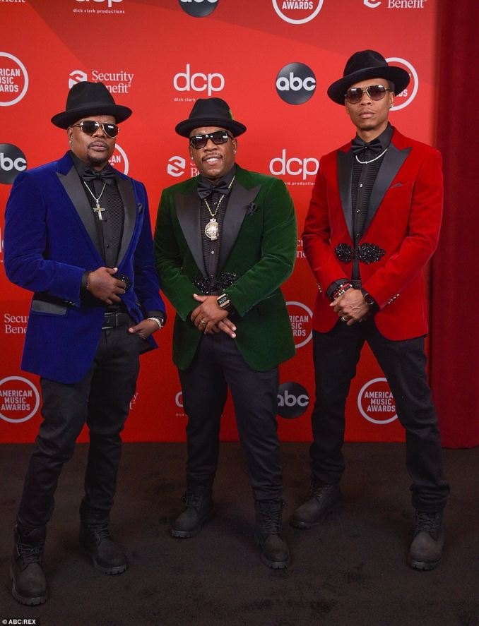 Swagger: Ricky Bell, Michael Bivins, and Ronnie Devoe brough the swagger to Sunday night's ceremony in nearly identical velvet suit jackets and matching black fedoras
