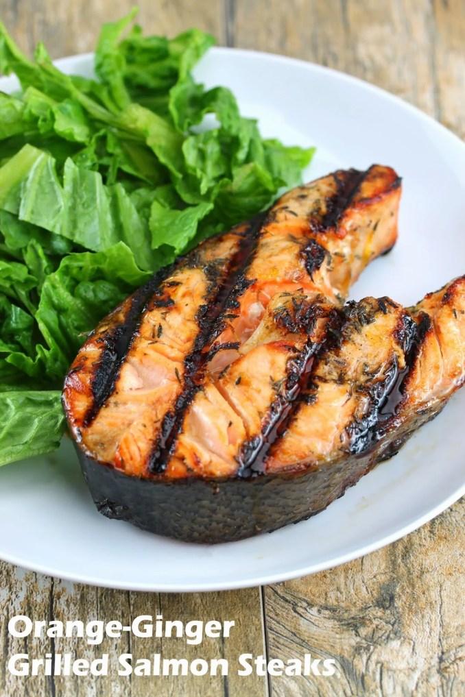 Orange-Ginger Grilled Salmon Steaks - thestayathomechef.com