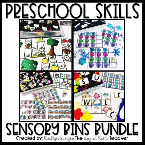 Preschool Skills Seasonal Sensory Bins Bundle COVER