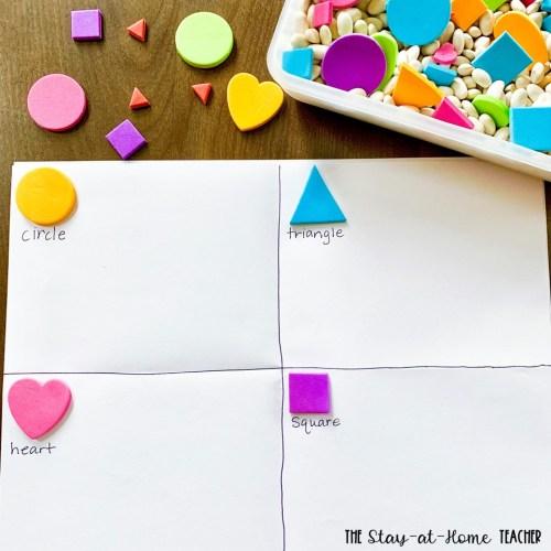 Shapes Stickers Sort Sensory Bin