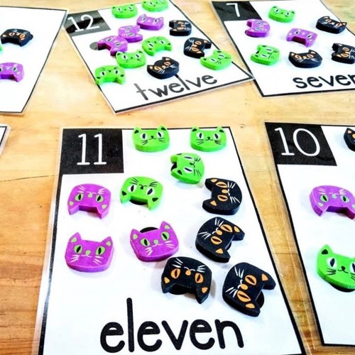 Counting Cards - Cat Halloween Erasers