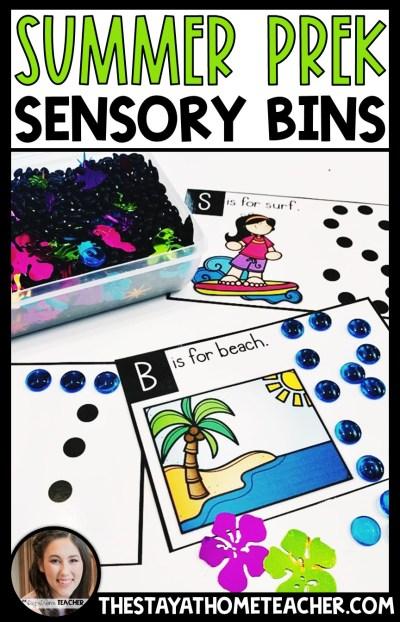 summer math and literacy sensory bins