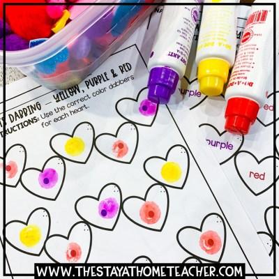 valentine color matching worksheets