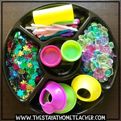 spring play dough tray