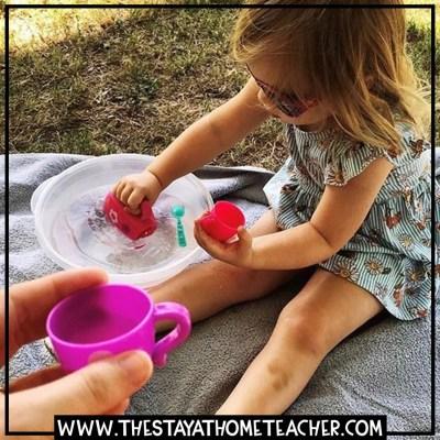 tea party water sensory bin
