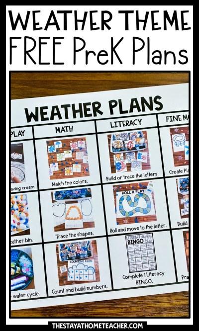 free weather preschool plans