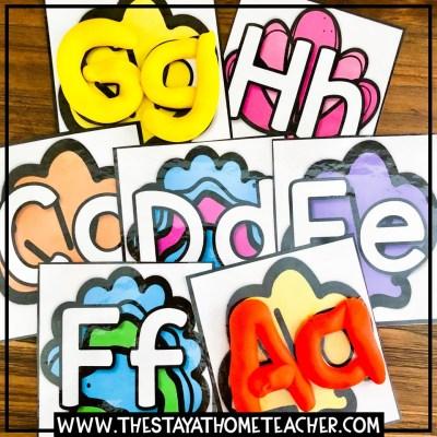 beach alphabet tracing cards