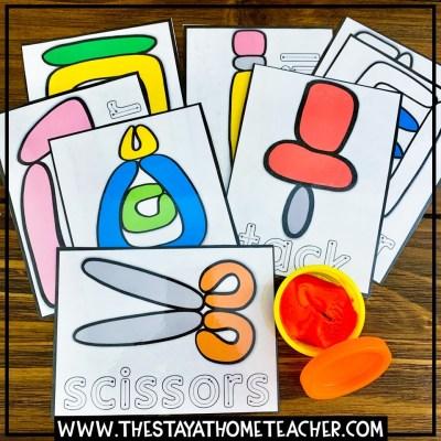 school supply play dough cards