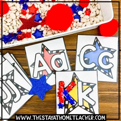 4th of july star alphabet cards