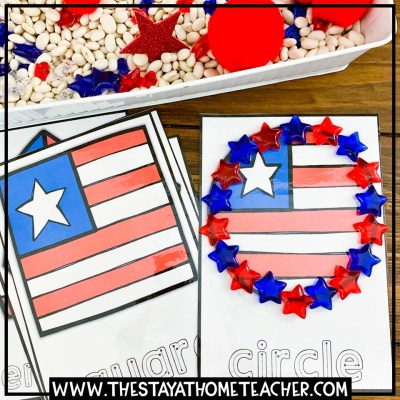 American flag shapes tracing