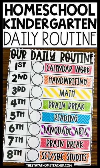 homeschool kindergarten daily routine chart