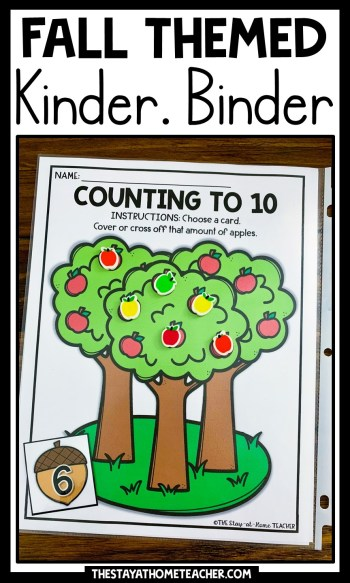 fall kindergarten math and literacy binder