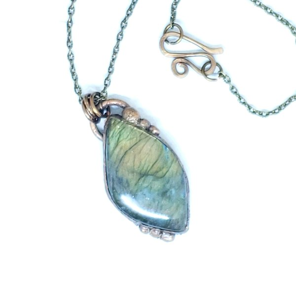 Electroformed Flashy Yellow Labradorite Pendant Necklace with Bronze Chain