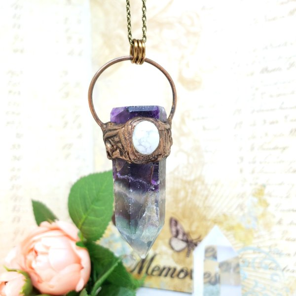 Electroformed Fluorite Point and Howlite Necklace with Bronze Chain