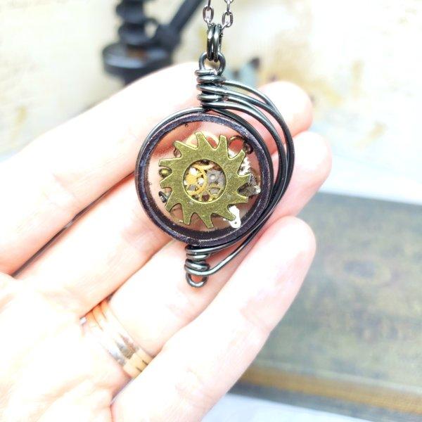 Steampunk Necklace in Gunmetal Fancy Wire Wrap Small