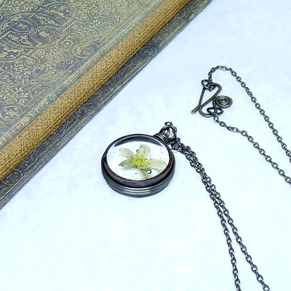 Real Flower Necklace in Gunmetal Simple Wire Wrap Small