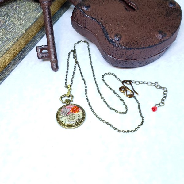Alice in Wonderland Pocket Watch Necklace in Bronze