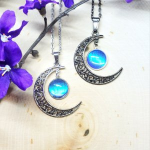 Blue Morpho Butterfly Silver or Black Moon Necklace