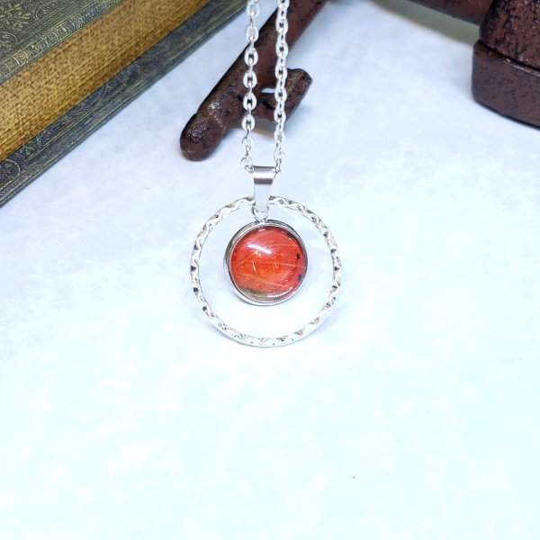 Red Glider Butterfly Large Circle Necklace