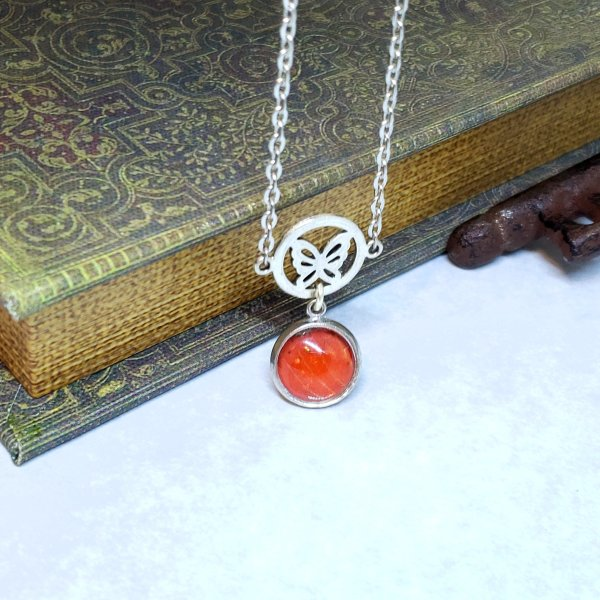 Red Glider Butterfly Charm Necklace