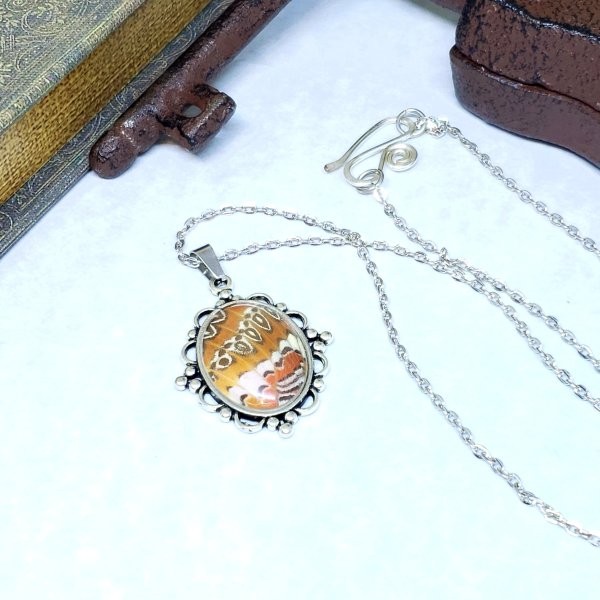 Red Lacewing Butterfly Victorian Style Necklace
