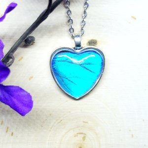 Blue Morpho Butterfly Silver Heart Necklace