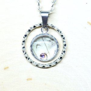 Mother of Pearl Butterfly Small Circle Charm Necklace