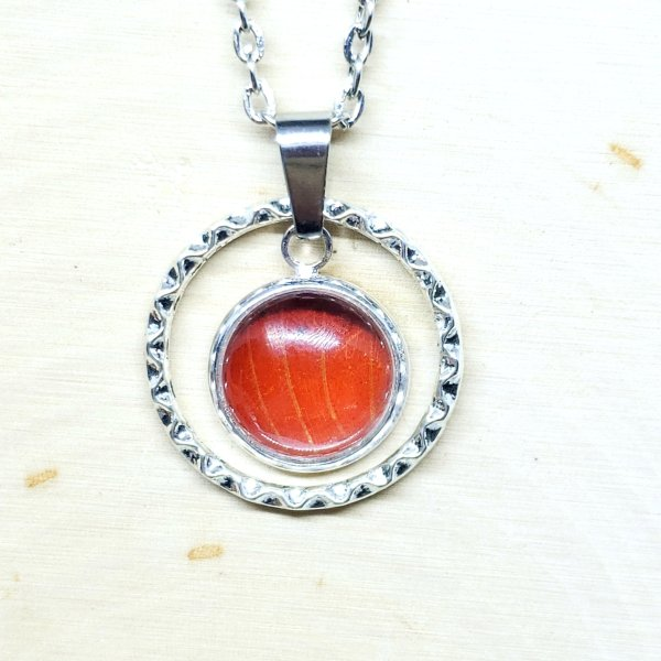 Red Glider Butterfly Small Circle Necklace