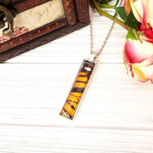 Monarch Butterfly Silver Rectangle Necklace
