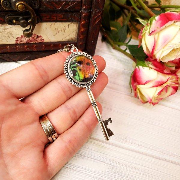 Madagascan Sunset Moth Silver Key Necklace