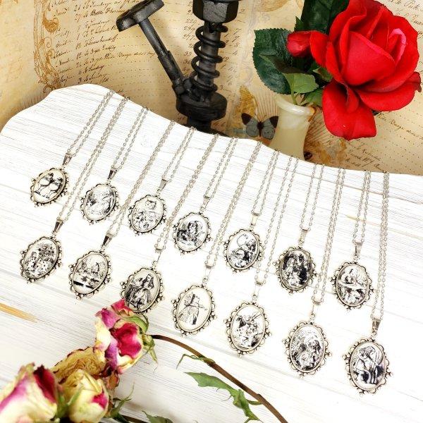 Alice in Wonderland Caterpillar Necklace in Silver