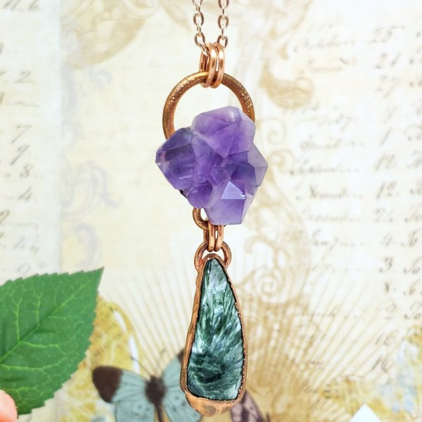 Electroformed Amethyst Cluster and Seraphinite Cabochon with Copper Chain