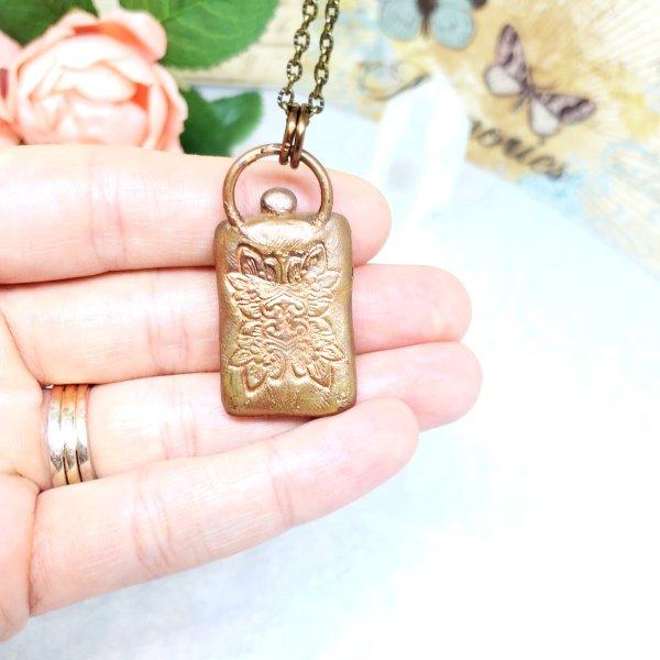 Electroformed Malachite Pendant with Bronze Chain