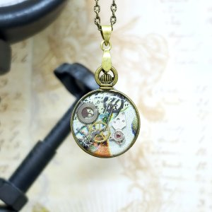Steampunk Bronze Mini Pocket Watch Necklace