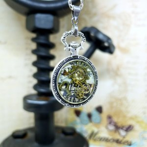 Steampunk Silver Mini Pocket Watch Necklace