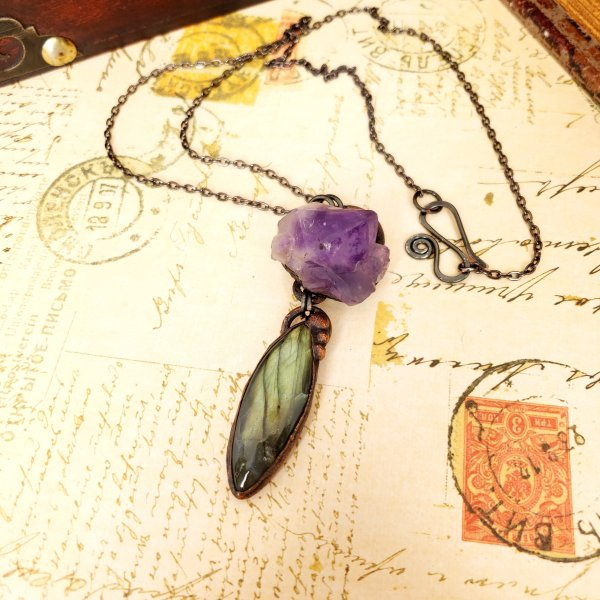 Electroformed Labradorite Cabochon and Amethyst Cluster Necklace with Gunmetal Chain