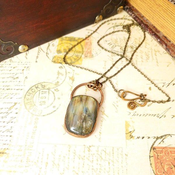 Electroformed Labradorite Cabochon Necklace with Bronze Chain