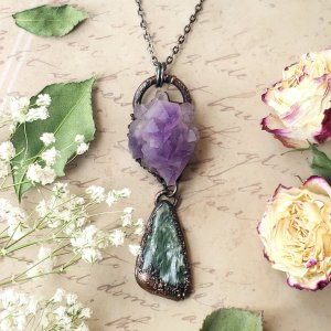 Electroformed Amethyst Cluster and Seraphinite Cabochon with Gunmetal Chain