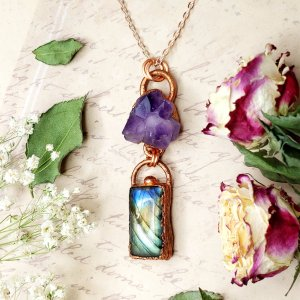 Electroformed Amethyst and Labradorite Necklace with Copper Chain