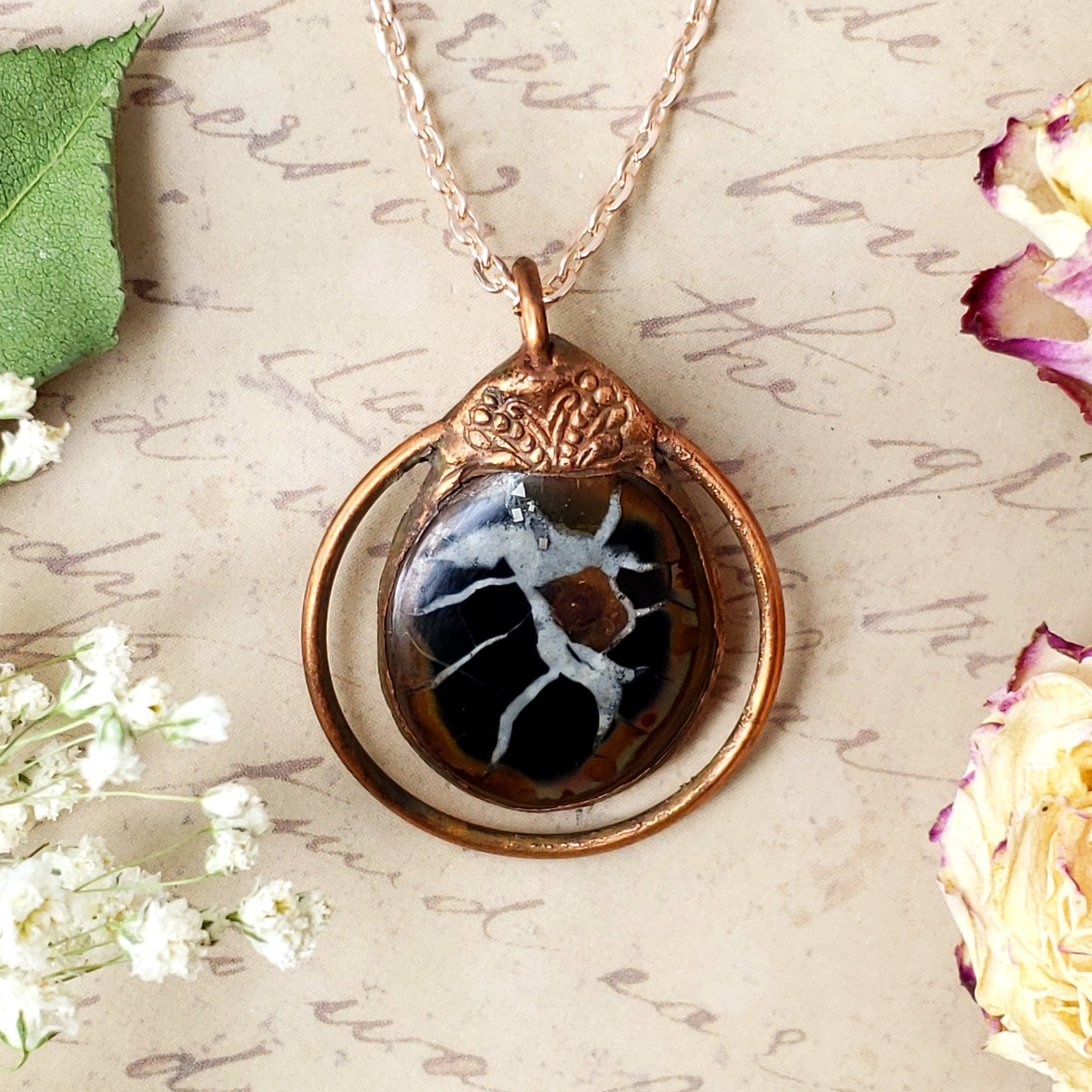 Gemstone Necklace Copper Electroformed Necklace Dragon and Labradorite Necklace Dragon Jewelry Fantasy Necklace Copper Necklace
