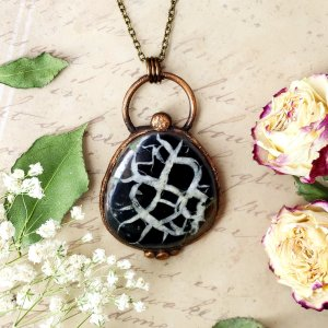 Electroformed Septarian Cabochon Necklace with Bronze Chain