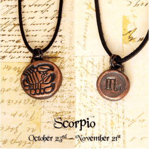 Zodiac and Horoscope Charm Necklace - Scorpio