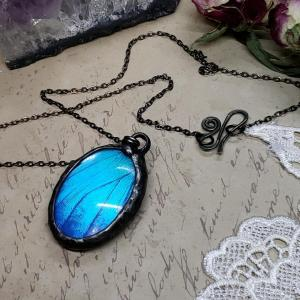 Blue Morpho Butterfly Necklace - Two-Sided Large Oval Smooth Shape in Gunmetal