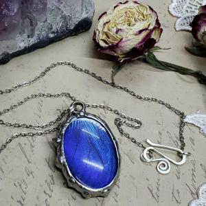 Blue Morpho Butterfly Necklace - Two-Sided Large Oval Fancy Shape in Silver