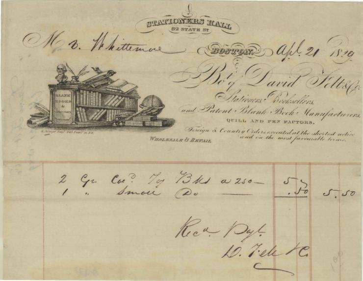 1829 stationer hall bill head