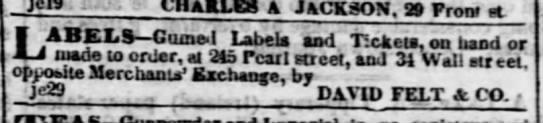 1840 David Felt labels
