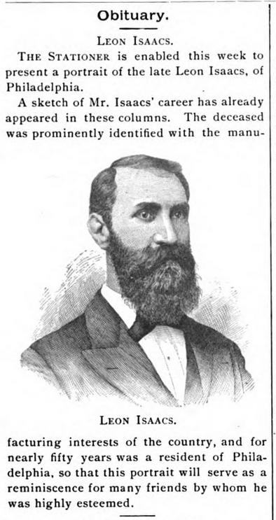 1889 Leon Isaacs obit