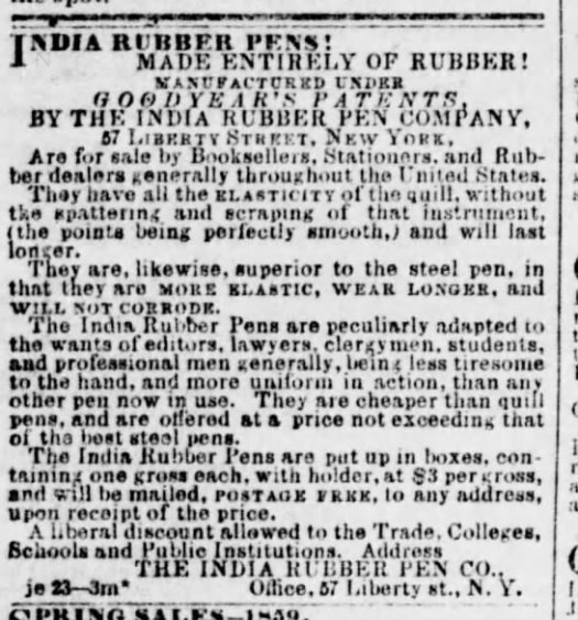 1859 Goodyear rubber pen ad elastic less tiresome